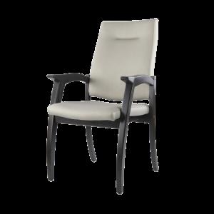 De 7066 stoel van Thereca is een stoel met een klassiek beukenhouten frame en een gestoffeerde hoge rug en zitting.