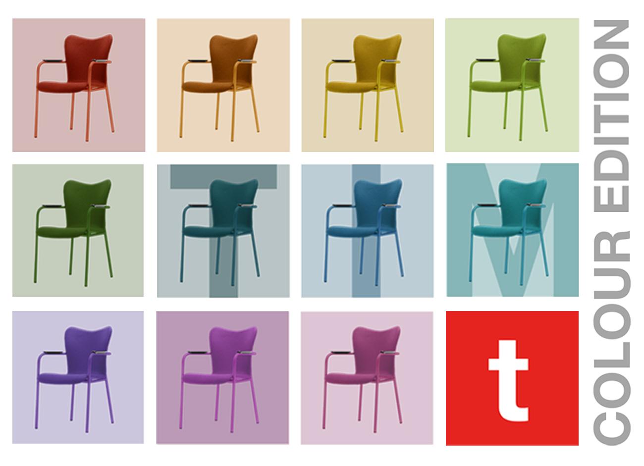 De Tim stoel is een stoel die naar wens te stylen is. In jouw kleuren of huisstijl. Jij kiest.